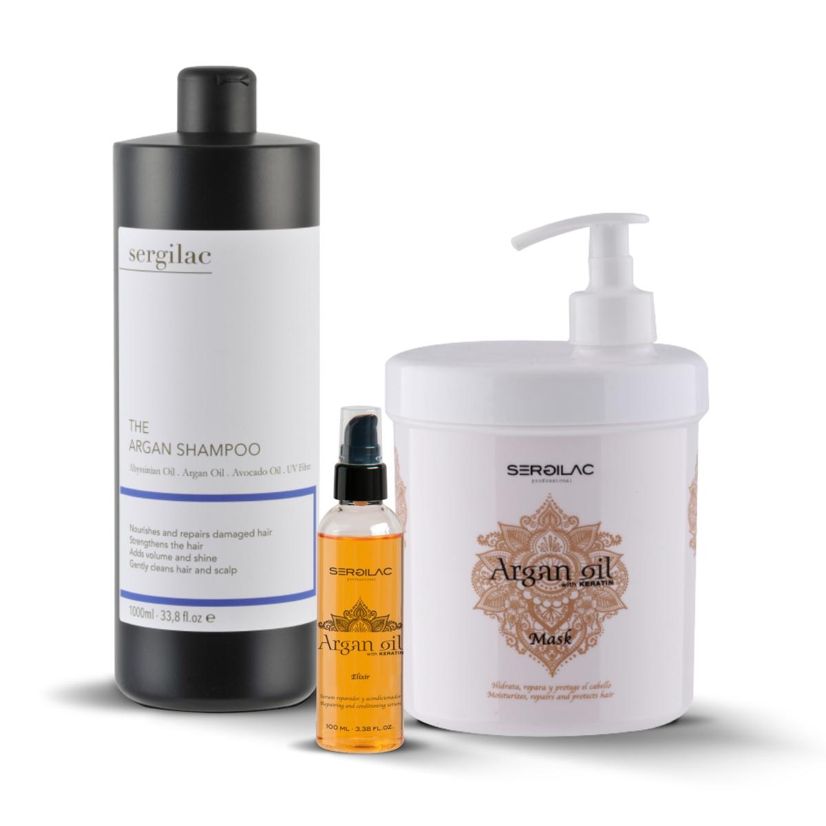 Lote Sergilac - The Argan Shampoo + Mask + Elixir