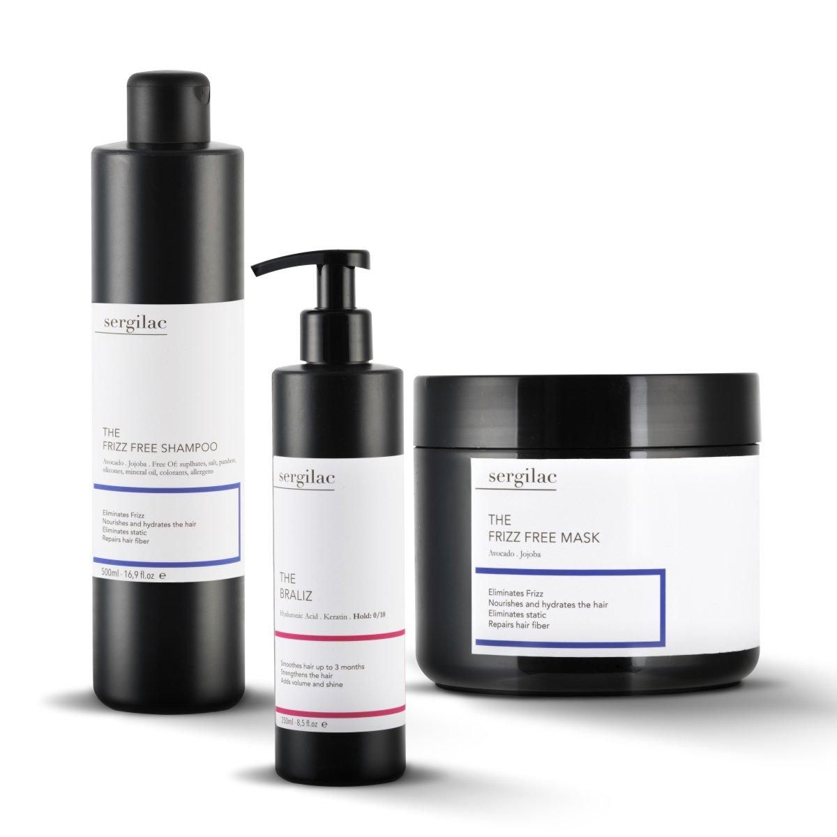Lote Alisado acido hialuronico Sergilac | The Braliz + Frizz Free Shampoo + Frizz Free Mask