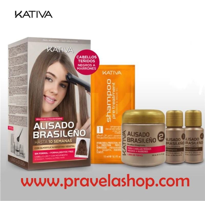 Kativa Tratamiento Alisado Brasileño Keratina-Aceite Argan para cabellos oscuros, marrones o negros